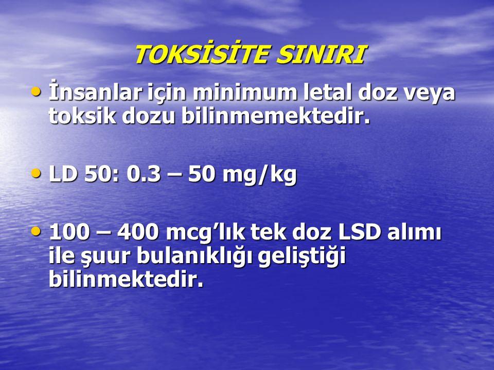 TOKSİSİTE SINIRI İnsanlar için minimum letal doz veya toksik dozu bilinmemektedir. LD 50: 0.3 – 50 mg/kg.