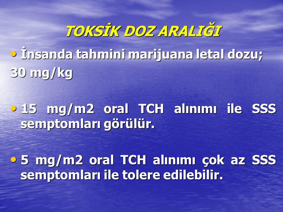 TOKSİK DOZ ARALIĞI İnsanda tahmini marijuana letal dozu; 30 mg/kg