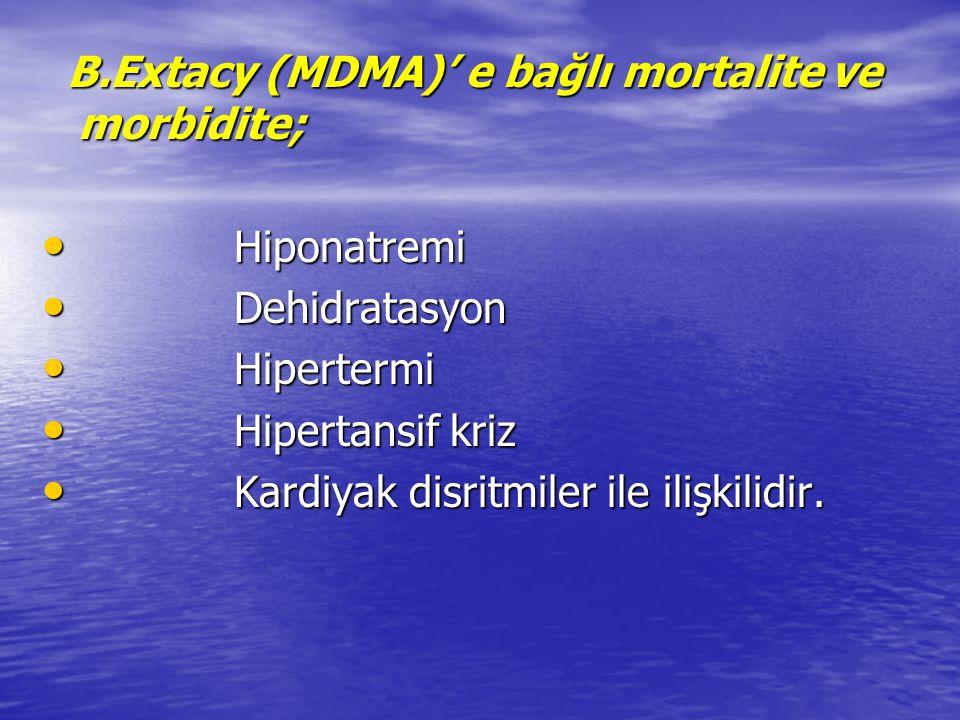 B.Extacy (MDMA)' e bağlı mortalite ve morbidite;