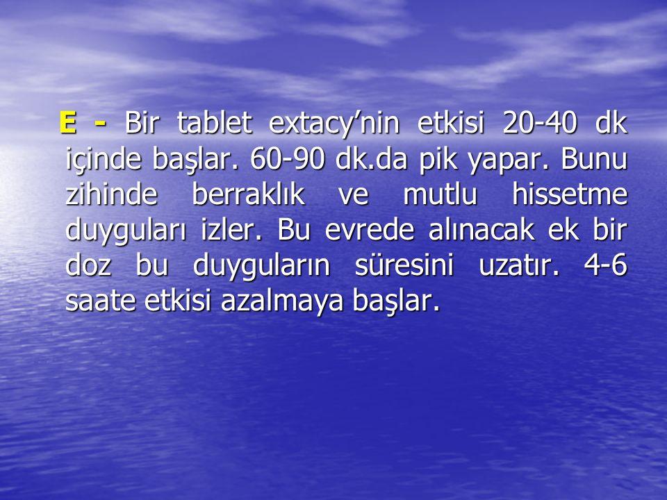 E - Bir tablet extacy'nin etkisi 20-40 dk içinde başlar. 60-90 dk