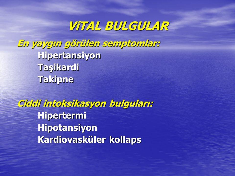 ViTAL BULGULAR En yaygın görülen semptomlar: Hipertansiyon Taşikardi