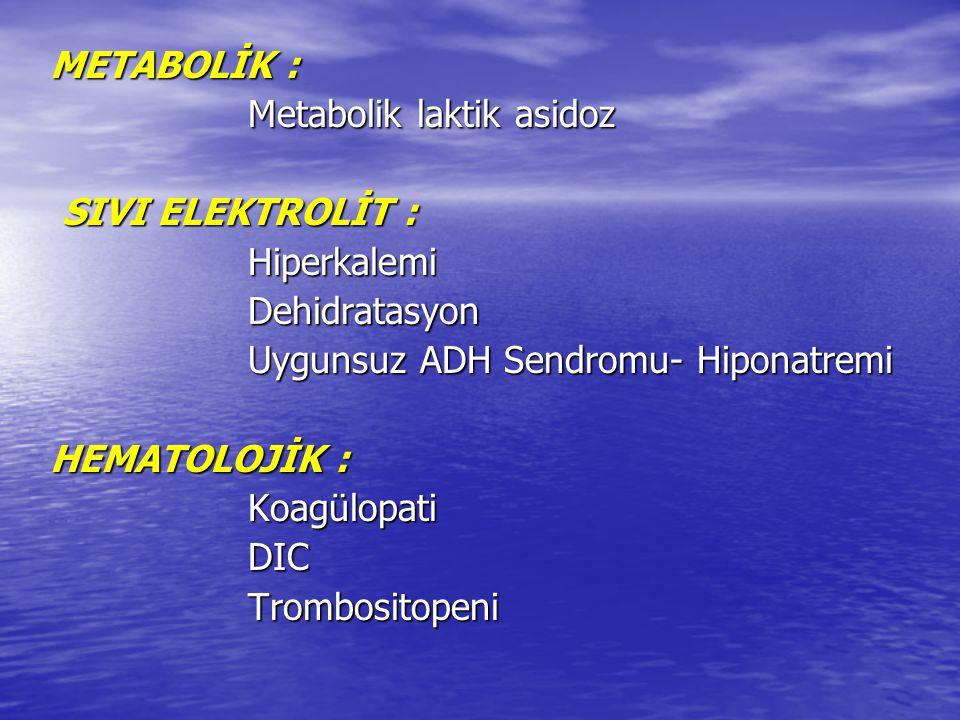 METABOLİK : Metabolik laktik asidoz. SIVI ELEKTROLİT : Hiperkalemi. Dehidratasyon. Uygunsuz ADH Sendromu- Hiponatremi.