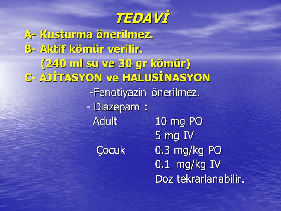 TEDAVİ A- Kusturma önerilmez. B- Aktif kömür verilir.