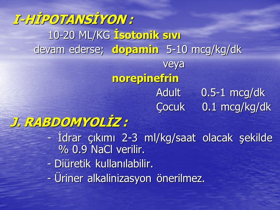 J. RABDOMYOLİZ : I-HİPOTANSİYON : devam ederse; dopamin 5-10 mcg/kg/dk