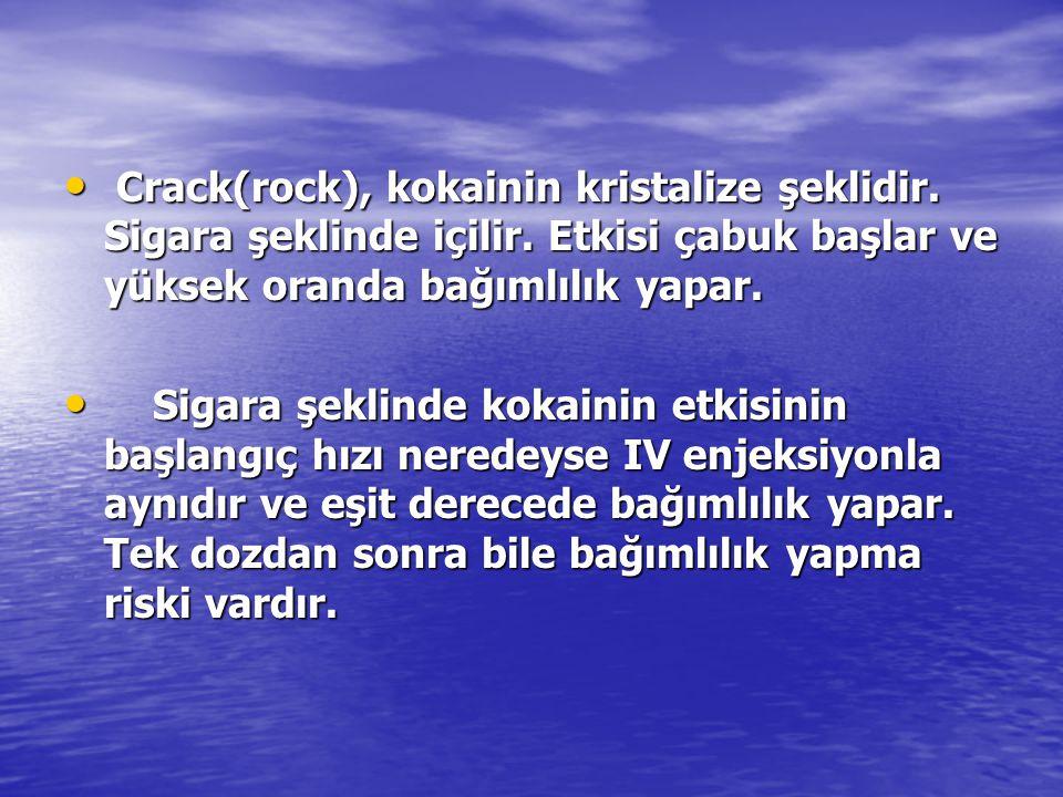 Crack(rock), kokainin kristalize şeklidir. Sigara şeklinde içilir