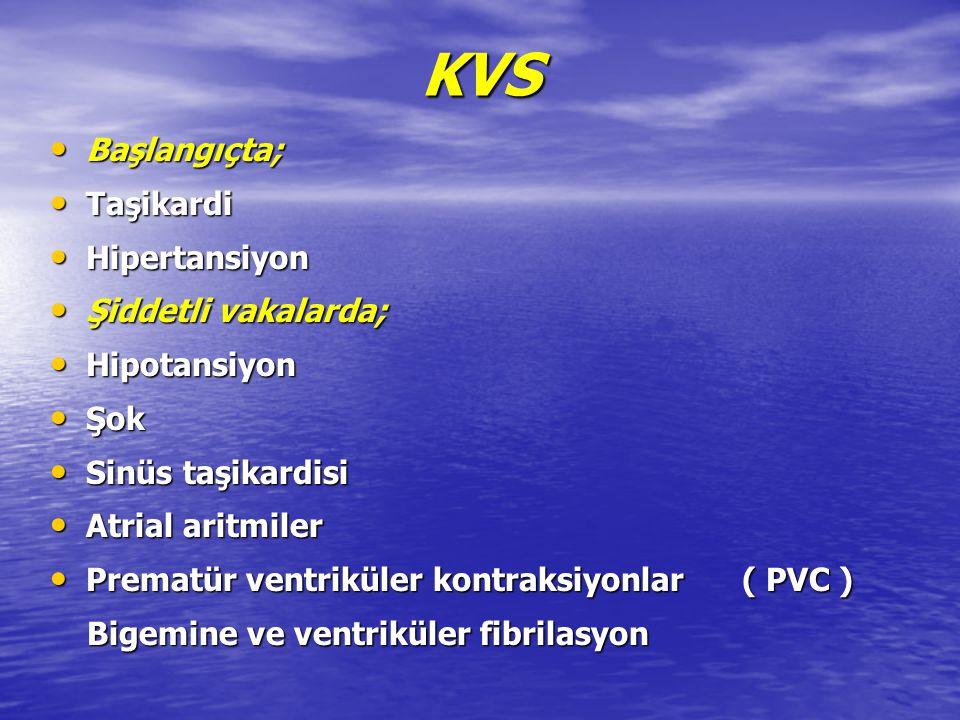 KVS Başlangıçta; Taşikardi Hipertansiyon Şiddetli vakalarda;