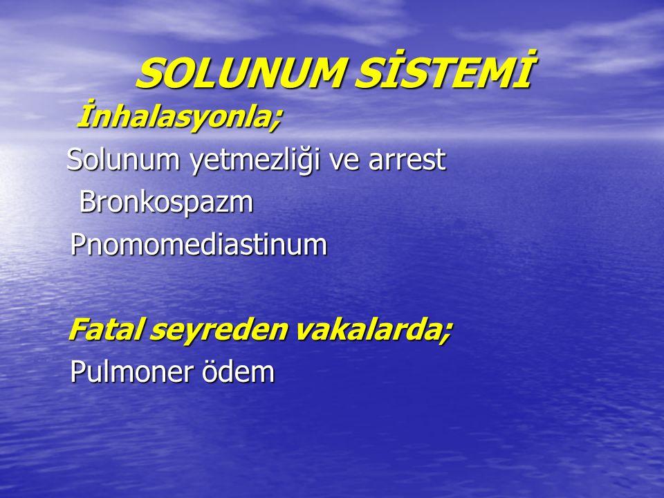 SOLUNUM SİSTEMİ İnhalasyonla; Solunum yetmezliği ve arrest Bronkospazm