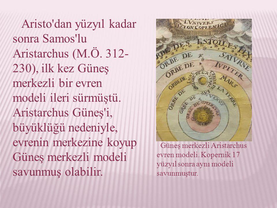 Aristo dan yüzyıl kadar sonra Samos lu Aristarchus (M. Ö