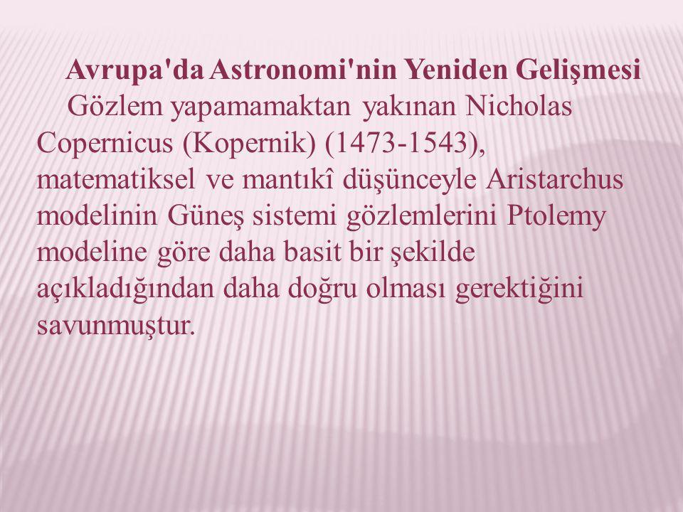 Avrupa da Astronomi nin Yeniden Gelişmesi
