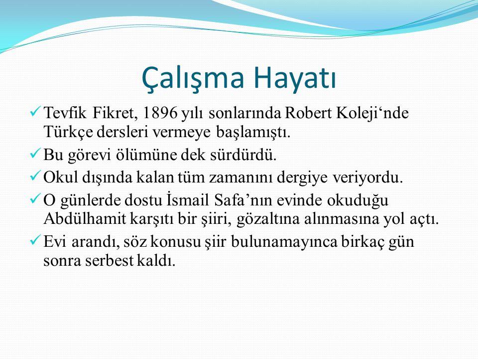 Çalışma Hayatı Tevfik Fikret, 1896 yılı sonlarında Robert Koleji'nde Türkçe dersleri vermeye başlamıştı.