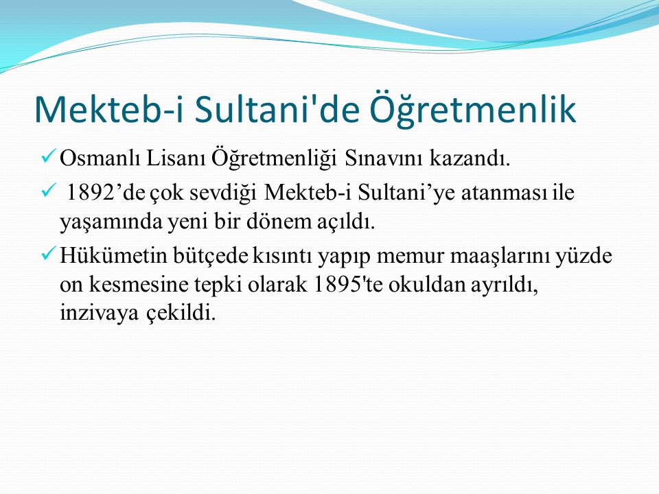 Mekteb-i Sultani de Öğretmenlik