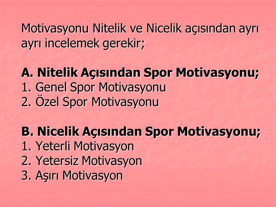 Motivasyonu Nitelik ve Nicelik açısından ayrı ayrı incelemek gerekir; A.