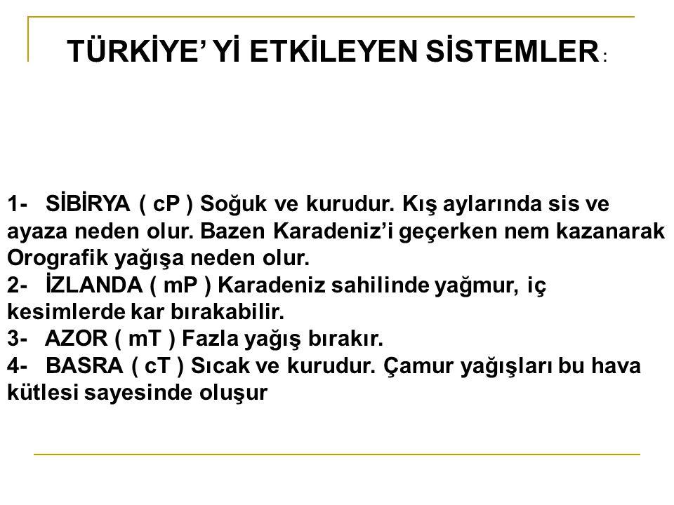TÜRKİYE' Yİ ETKİLEYEN SİSTEMLER :
