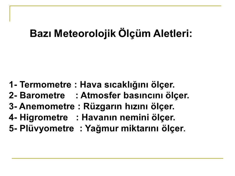 Bazı Meteorolojik Ölçüm Aletleri: