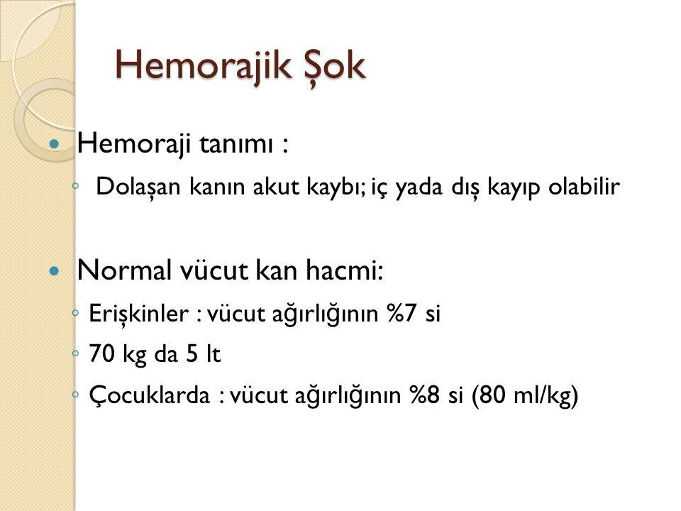Hemorajik Şok Hemoraji tanımı : Normal vücut kan hacmi: