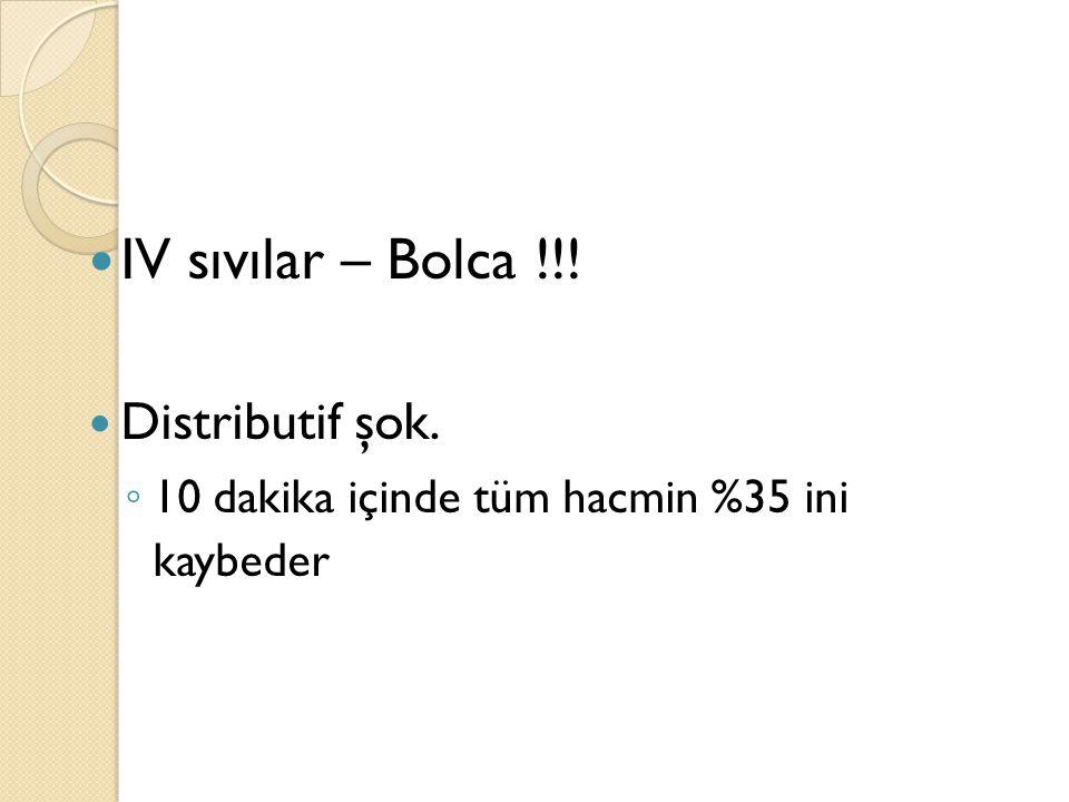 IV sıvılar – Bolca !!! Distributif şok.