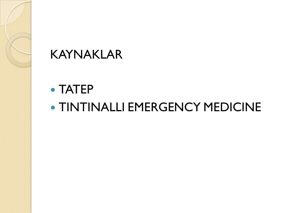 KAYNAKLAR TATEP TINTINALLI EMERGENCY MEDICINE