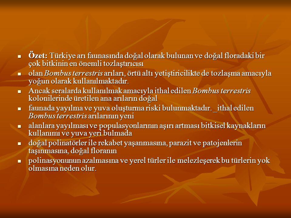Özet: Türkiye arı faunasında doğal olarak bulunan ve doğal floradaki bir çok bitkinin en önemli tozlaştırıcısı
