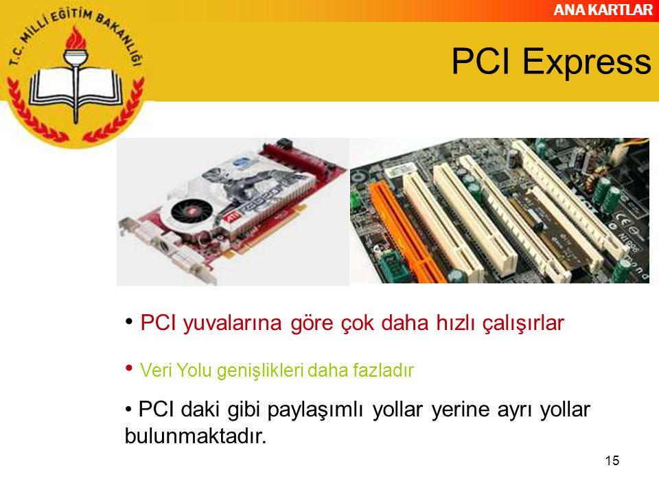 PCI Express PCI yuvalarına göre çok daha hızlı çalışırlar
