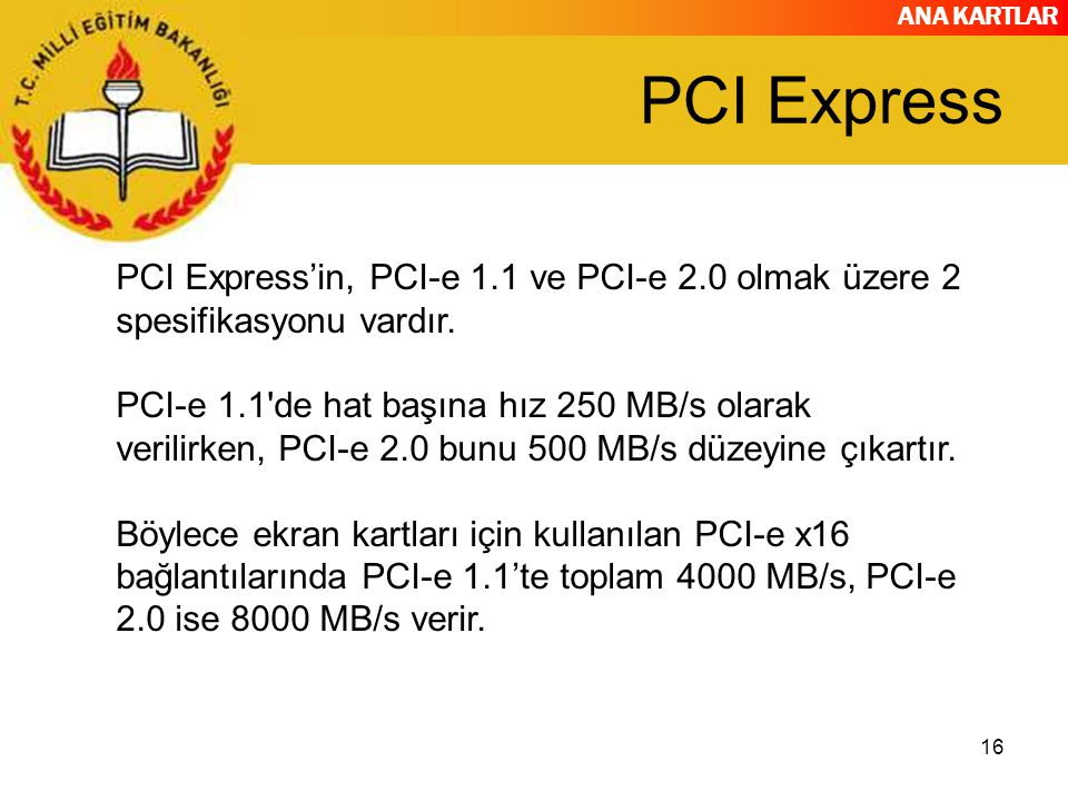 PCI Express PCI Express'in, PCI-e 1.1 ve PCI-e 2.0 olmak üzere 2 spesifikasyonu vardır.