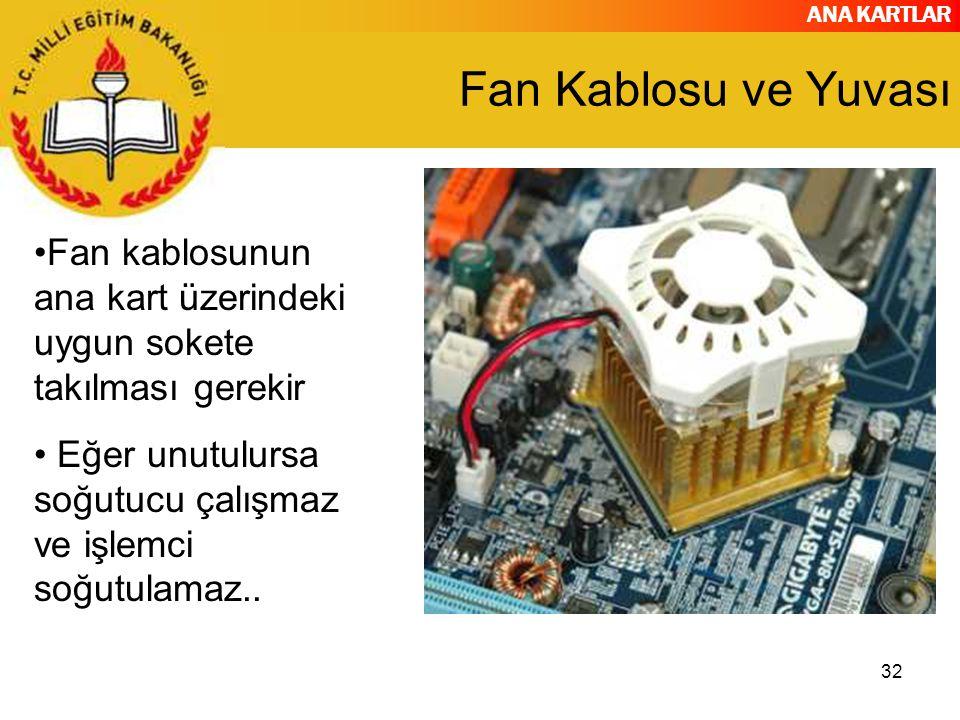 Fan Kablosu ve Yuvası Fan kablosunun ana kart üzerindeki uygun sokete takılması gerekir.
