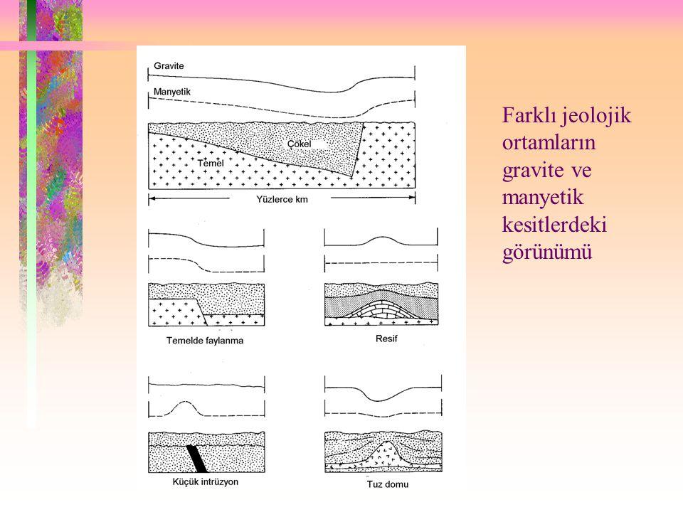 Farklı jeolojik ortamların gravite ve manyetik kesitlerdeki görünümü