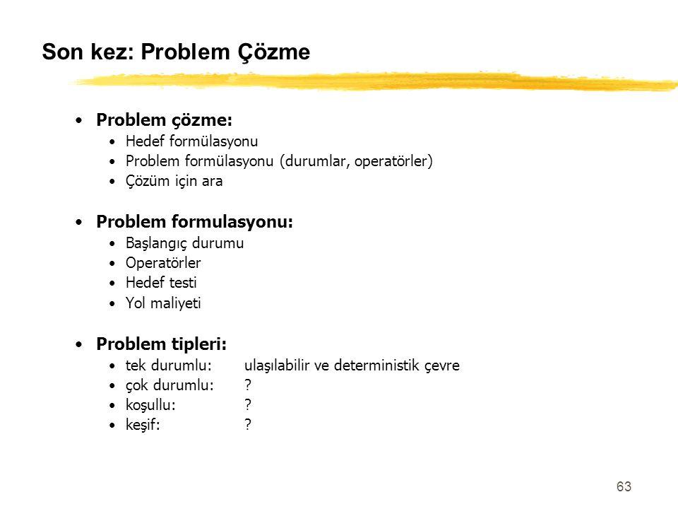 Son kez: Problem Çözme Problem çözme: Problem formulasyonu:
