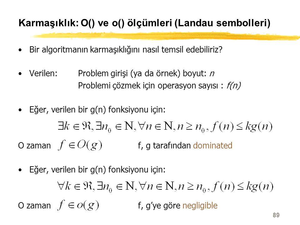 Karmaşıklık: O() ve o() ölçümleri (Landau sembolleri)
