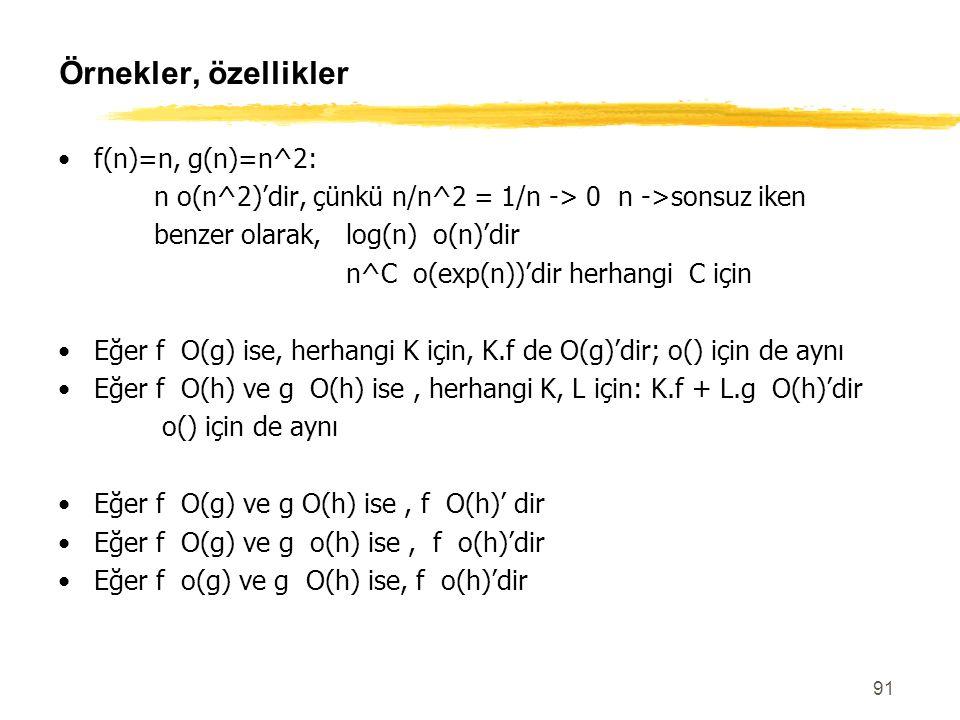 Örnekler, özellikler f(n)=n, g(n)=n^2: