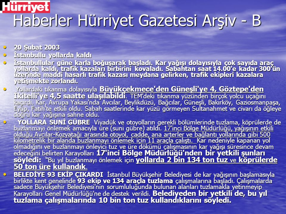 Haberler Hürriyet Gazetesi Arşiv - B