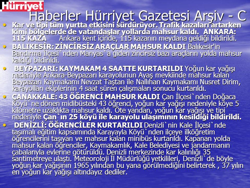 Haberler Hürriyet Gazetesi Arşiv - C