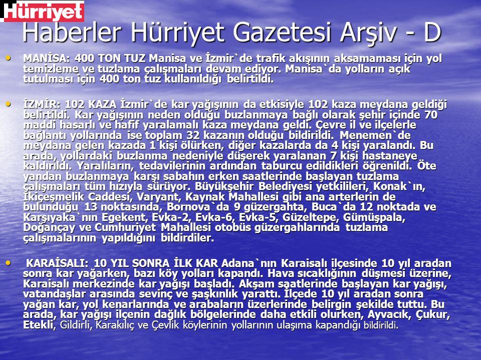 Haberler Hürriyet Gazetesi Arşiv - D
