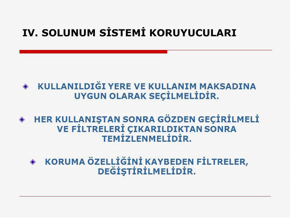 IV. SOLUNUM SİSTEMİ KORUYUCULARI
