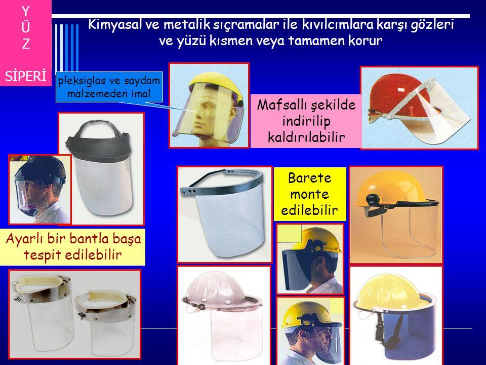 Y Ü. Z. SİPERİ. Kimyasal ve metalik sıçramalar ile kıvılcımlara karşı gözleri ve yüzü kısmen veya tamamen korur.