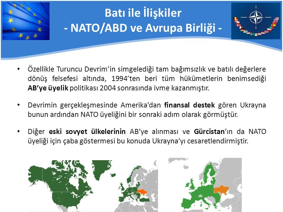 Batı ile İlişkiler - NATO/ABD ve Avrupa Birliği -