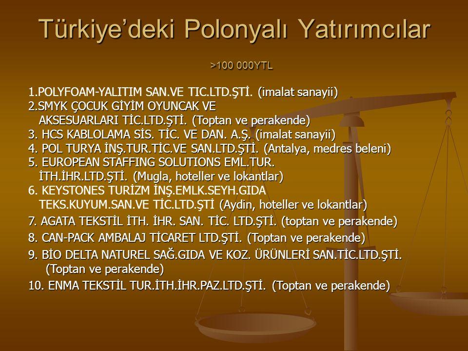 Türkiye'deki Polonyalı Yatırımcılar >100 000YTL