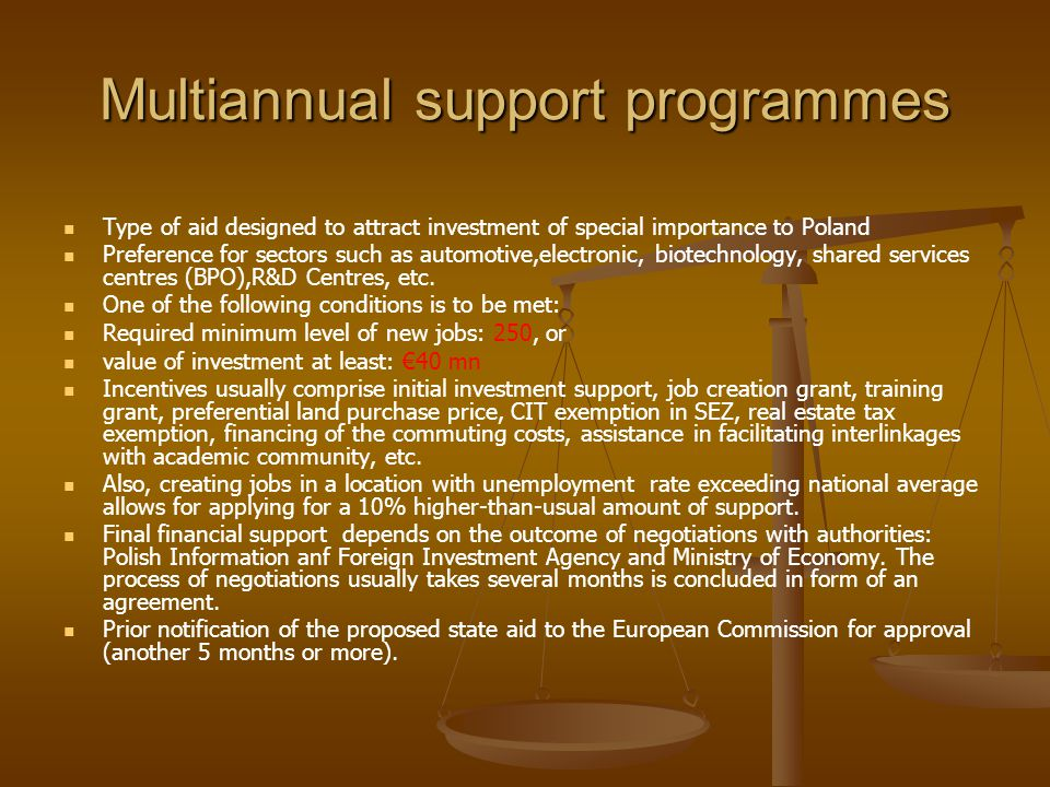 Multiannual support programmes