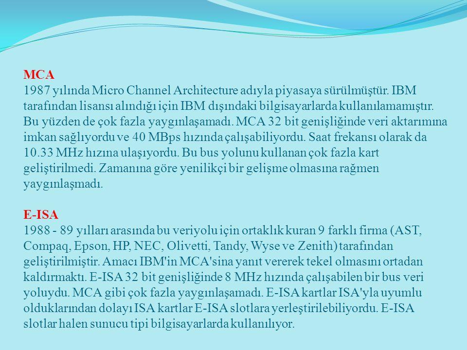 MCA 1987 yılında Micro Channel Architecture adıyla piyasaya sürülmüştür.