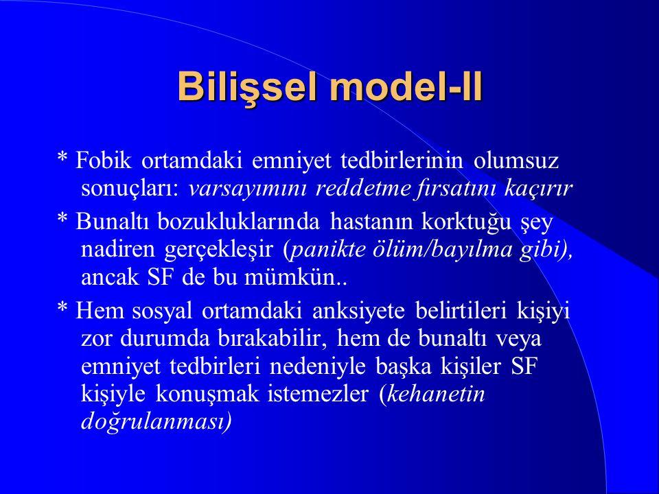 Bilişsel model-II * Fobik ortamdaki emniyet tedbirlerinin olumsuz sonuçları: varsayımını reddetme fırsatını kaçırır.