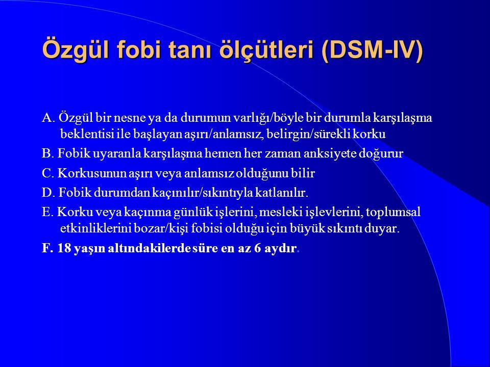 Özgül fobi tanı ölçütleri (DSM-IV)