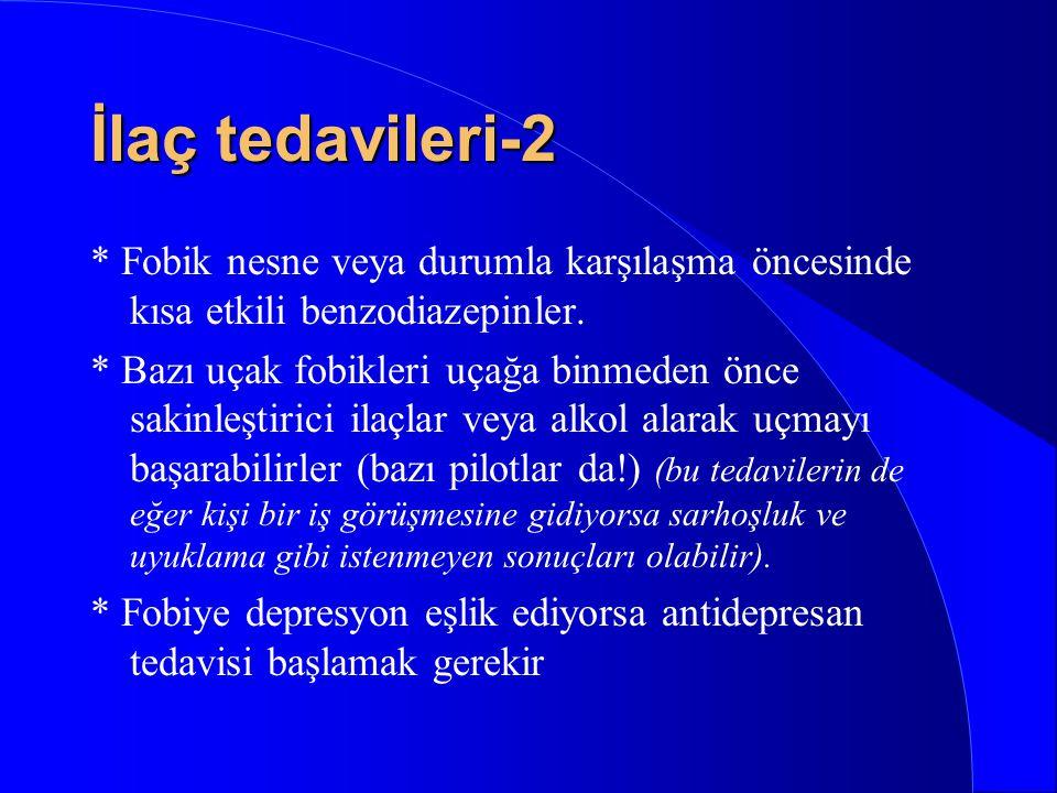 İlaç tedavileri-2 * Fobik nesne veya durumla karşılaşma öncesinde kısa etkili benzodiazepinler.
