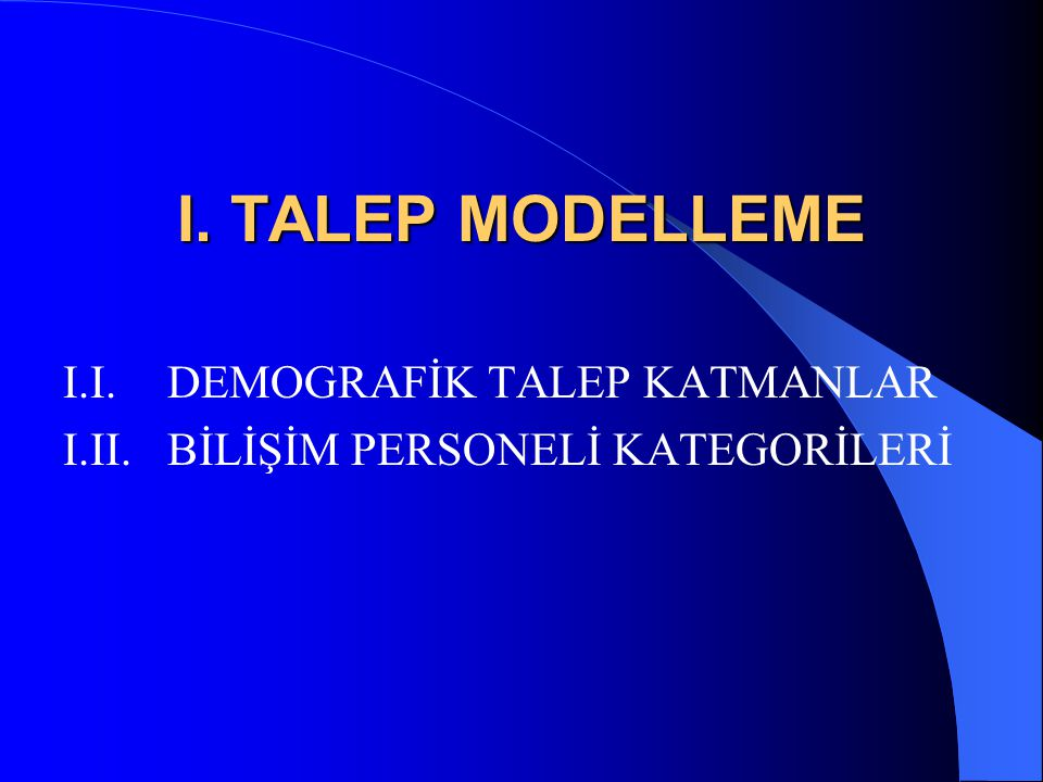 I. TALEP MODELLEME I.I. DEMOGRAFİK TALEP KATMANLAR