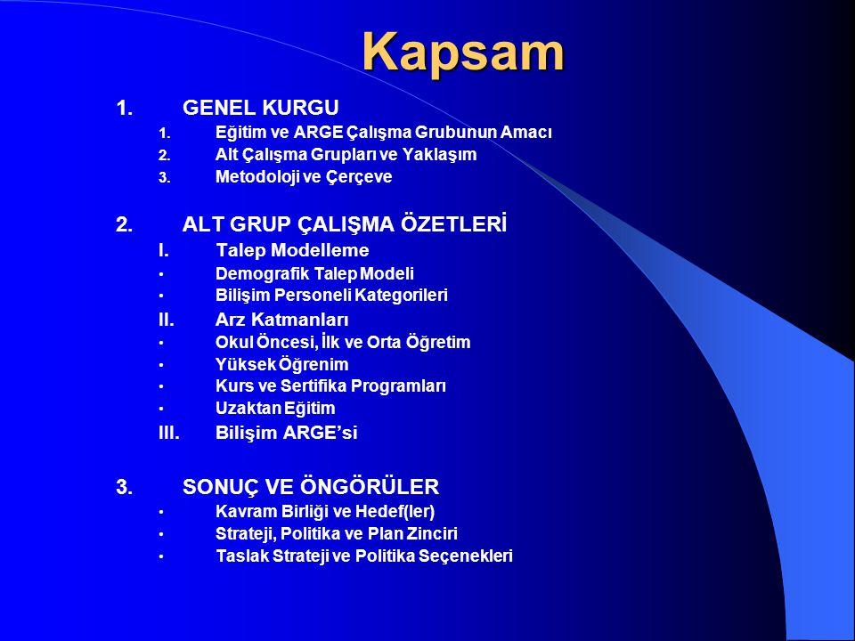 Kapsam 1. GENEL KURGU 2. ALT GRUP ÇALIŞMA ÖZETLERİ