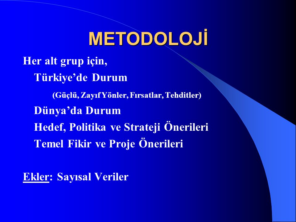 METODOLOJİ Her alt grup için, Türkiye'de Durum
