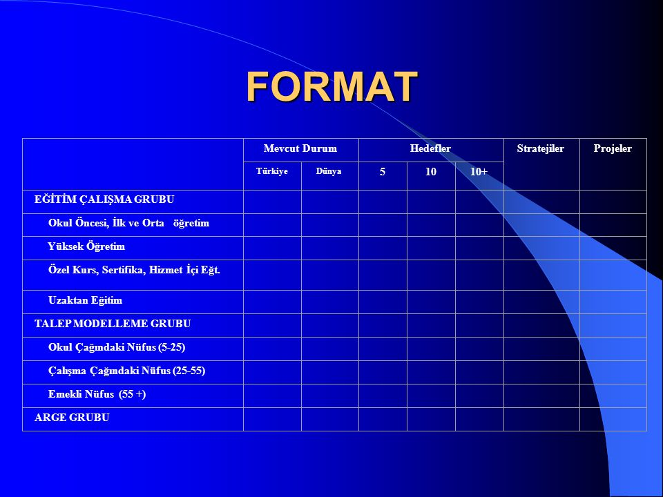 FORMAT Mevcut Durum Hedefler Stratejiler Projeler 5 10 10+