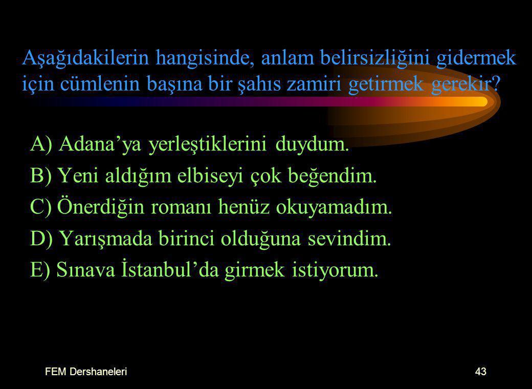 A) Adana'ya yerleştiklerini duydum.