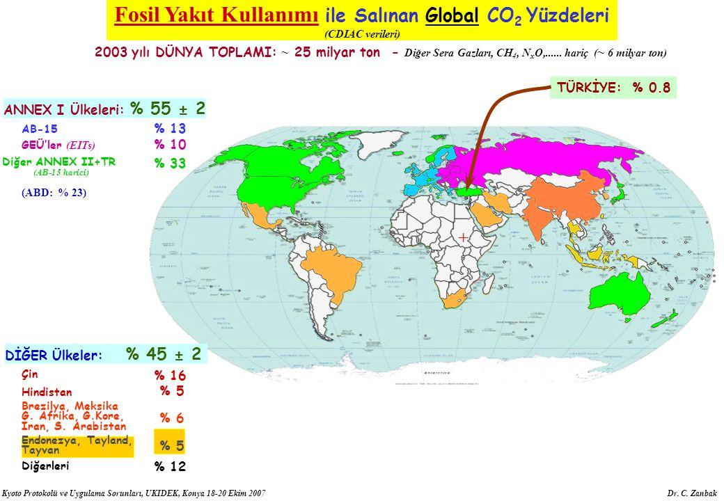 Fosil Yakıt Kullanımı ile Salınan Global CO2 Yüzdeleri