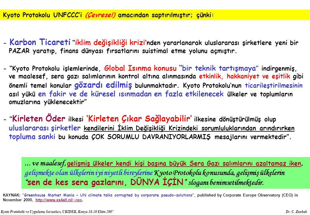 Kyoto Protokolu UNFCCC'i (Çevresel) amacından saptırılmıştır; çünki:
