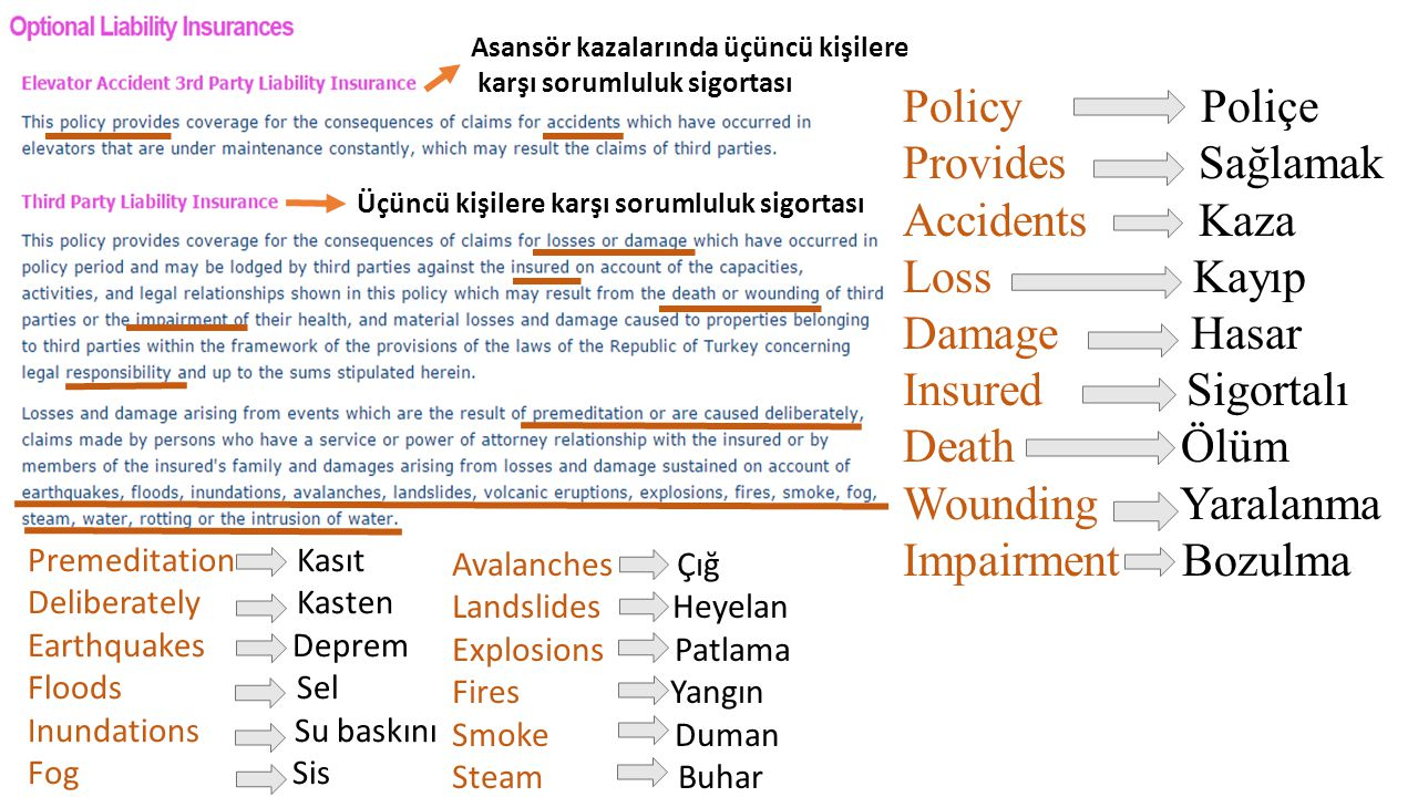 Policy Poliçe Provides Sağlamak Accidents Kaza Loss Kayıp Damage Hasar