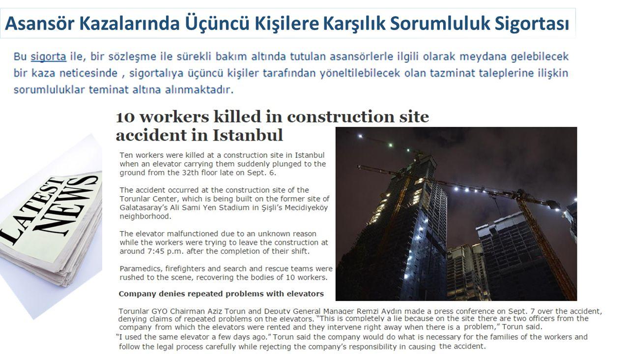 Asansör Kazalarında Üçüncü Kişilere Karşılık Sorumluluk Sigortası